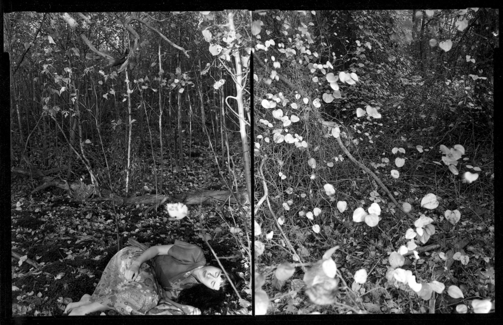 Self Portrait, The Tapestry, 1992 / Silver gelatin print / 4 x 5 in (10.2 x 12.7cm) diptych contact print / Edition of 10