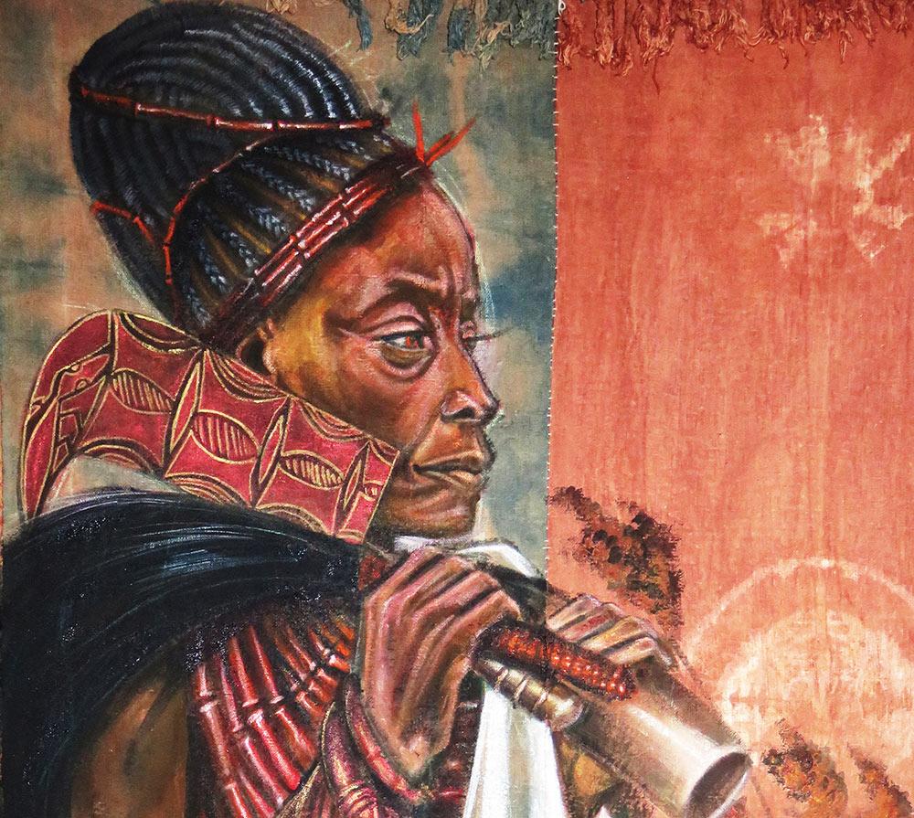 """""""Iyá Oya"""" painting on a combination of handwoven cloth,©Stephen Hamilton"""