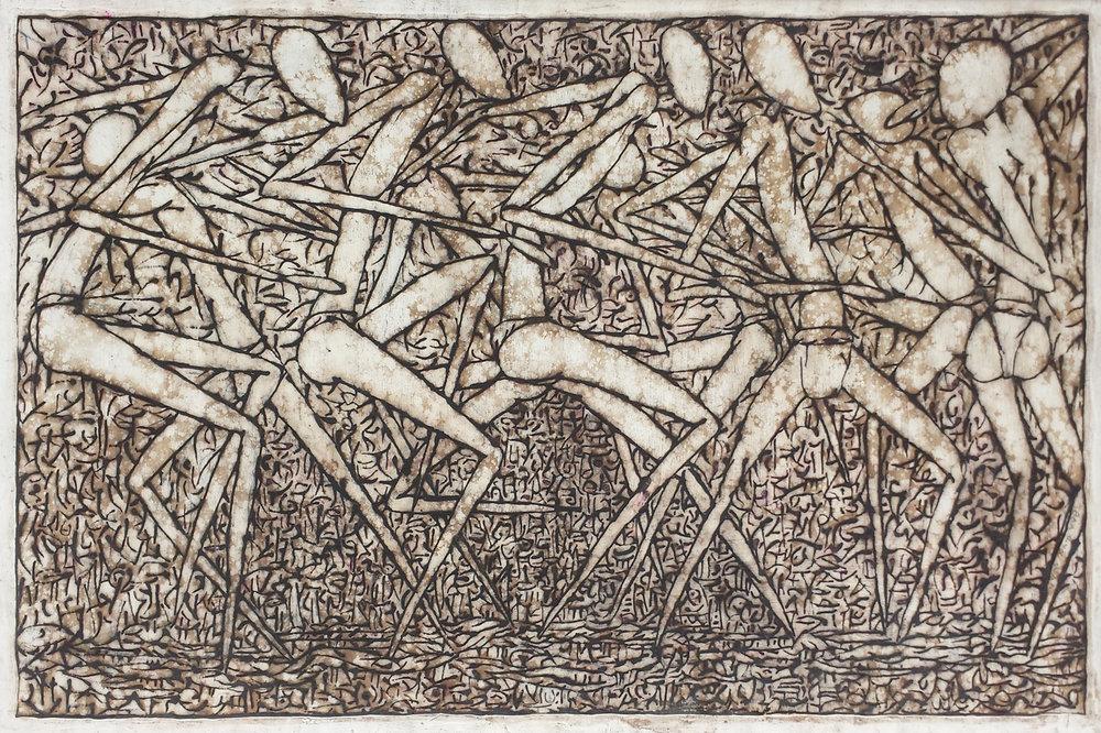 """Circle Dancers (III)"", natural pigment on paper, 57 x 87 cm, 2014.©Akinjide Baruwa"