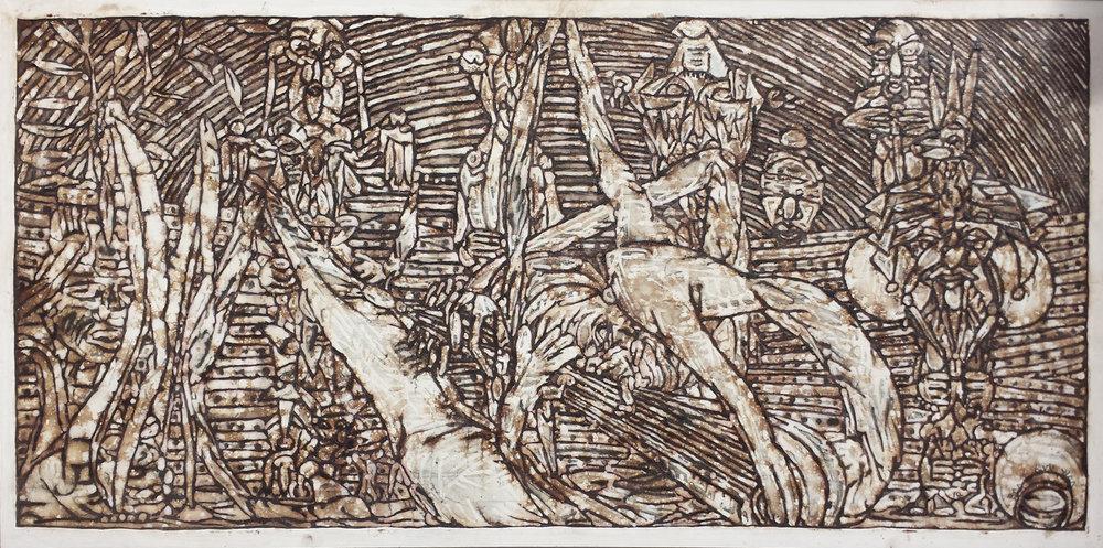 """Song Row (I)"", natural pigment on cardboard, 55 x 116 cm. ©Akinjide Baruwa"