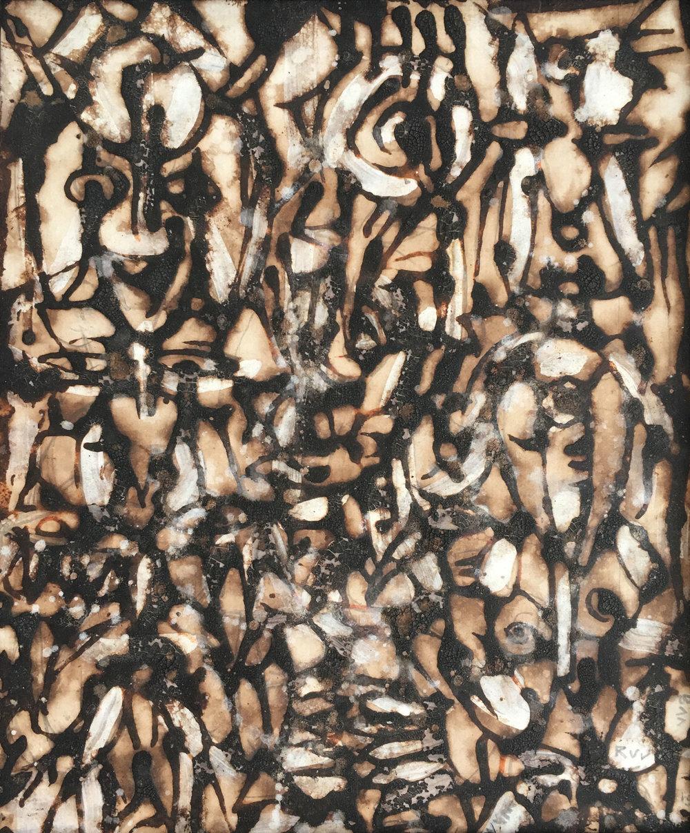 """Attendant"", natural pigment on paper, 25 x 20 cm, 2013. ©Akinjide Baruwa"