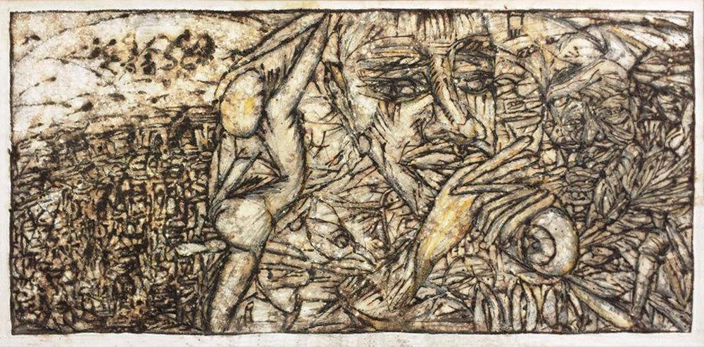 """Song Row (II)"", natural pigment on cardboard, 55 x 116 cm, 2014.©Akinjide Baruwa"