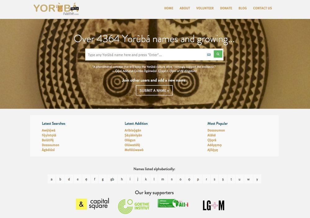 "Screenshot from the yorubaname.com website, also working for Lukumí ""nombres de santeros"".©Kọ́lá Túbọ̀sún"