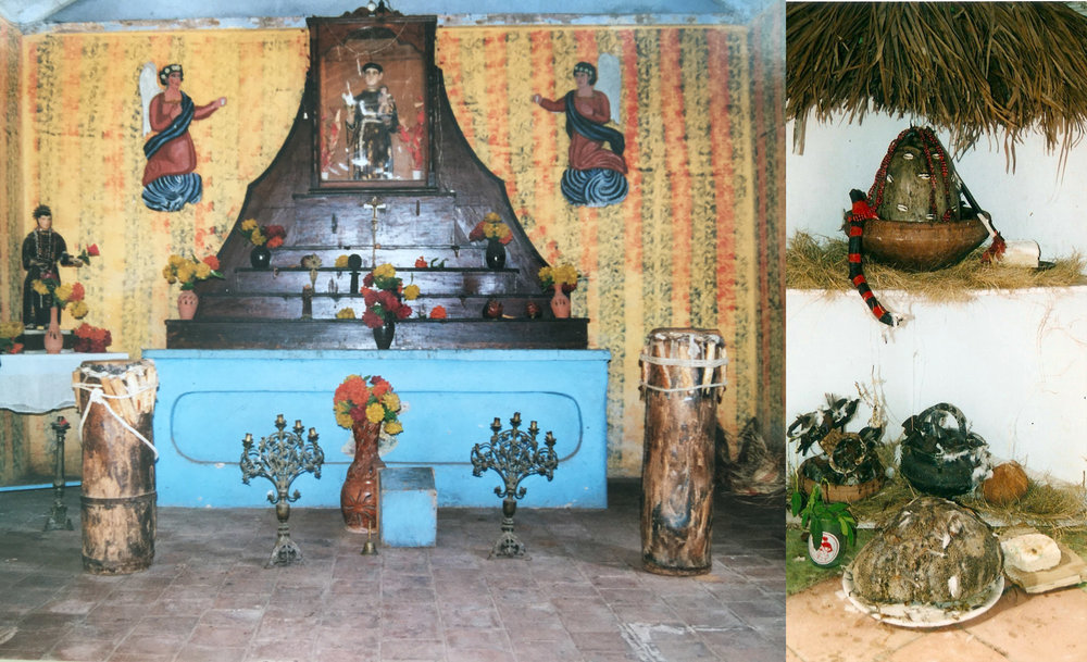 Left: The 'Cabildo de Los Congos Reales' in Trinidad, Cuba. An example for the worship of the Catholic saint San Antonio de Padua, associated with Òrìṣà Ẹlẹ́gbára/Èṣù or the Congolese spirit Ánima Sola. Very likely the French missionaries encountered a syncretic mixture like that with the Aguda. Right:  Òrìṣà   Ẹlẹ́gbára  /  Èṣù, Cuba.