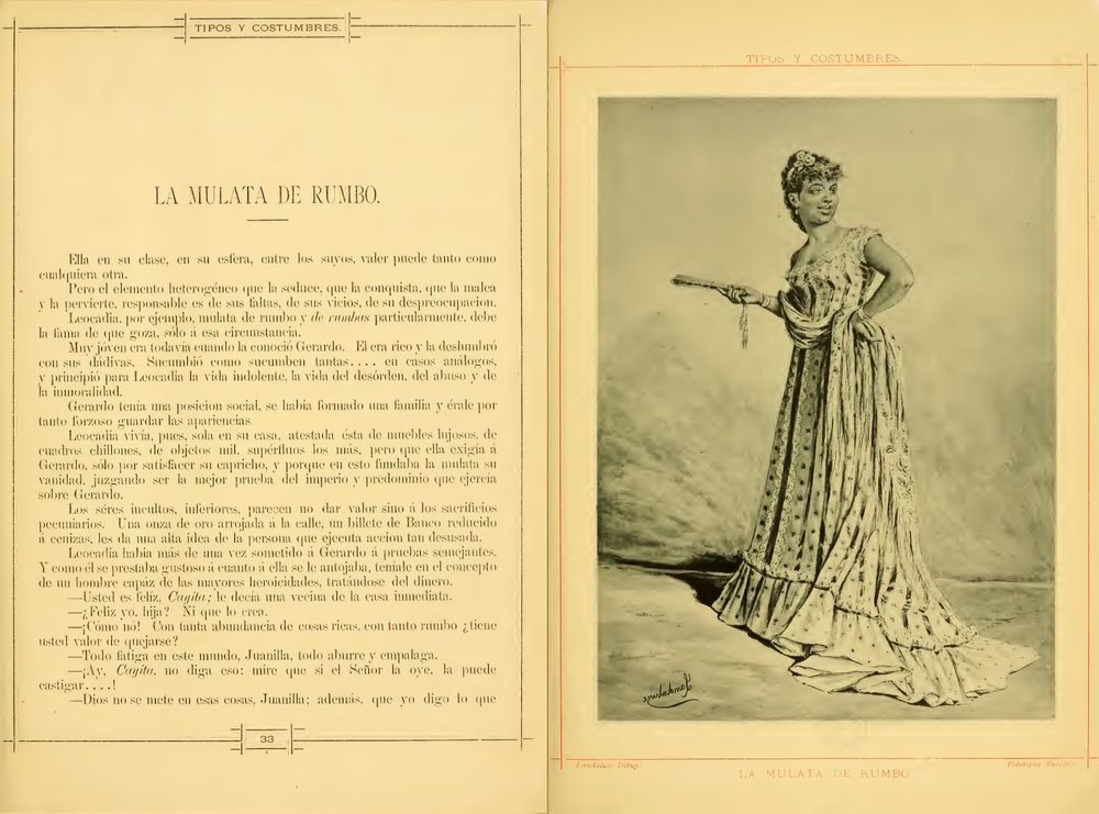 "A description of the typical Cuban ""mulata"", including a fan. From ""tipos y costumbres de la isla de Cuba"" from 1881,  see the complete book in the  Open Library"