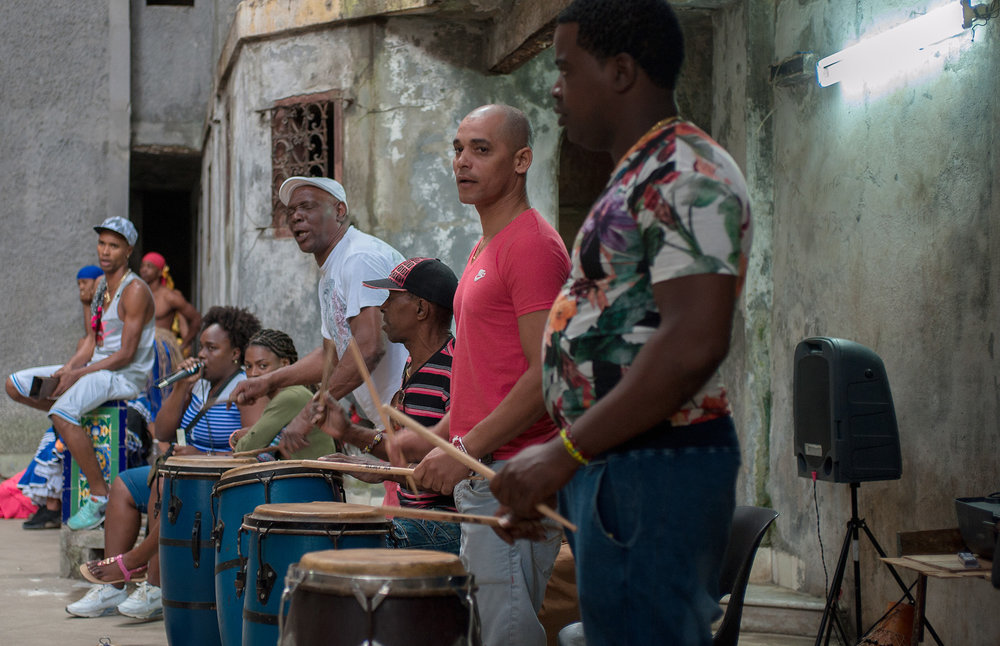 "Many rhythms that originally were played on different kinds of drums are today interpreted on modern tumbadoras, outside of Cuba known as ""congas"". This is very likely a performance of an Arara rhythm or a Lukumí Bembé for Orisha. Photo  Giulia Molinari  CC  BY-NC 2.0  Image cropped."