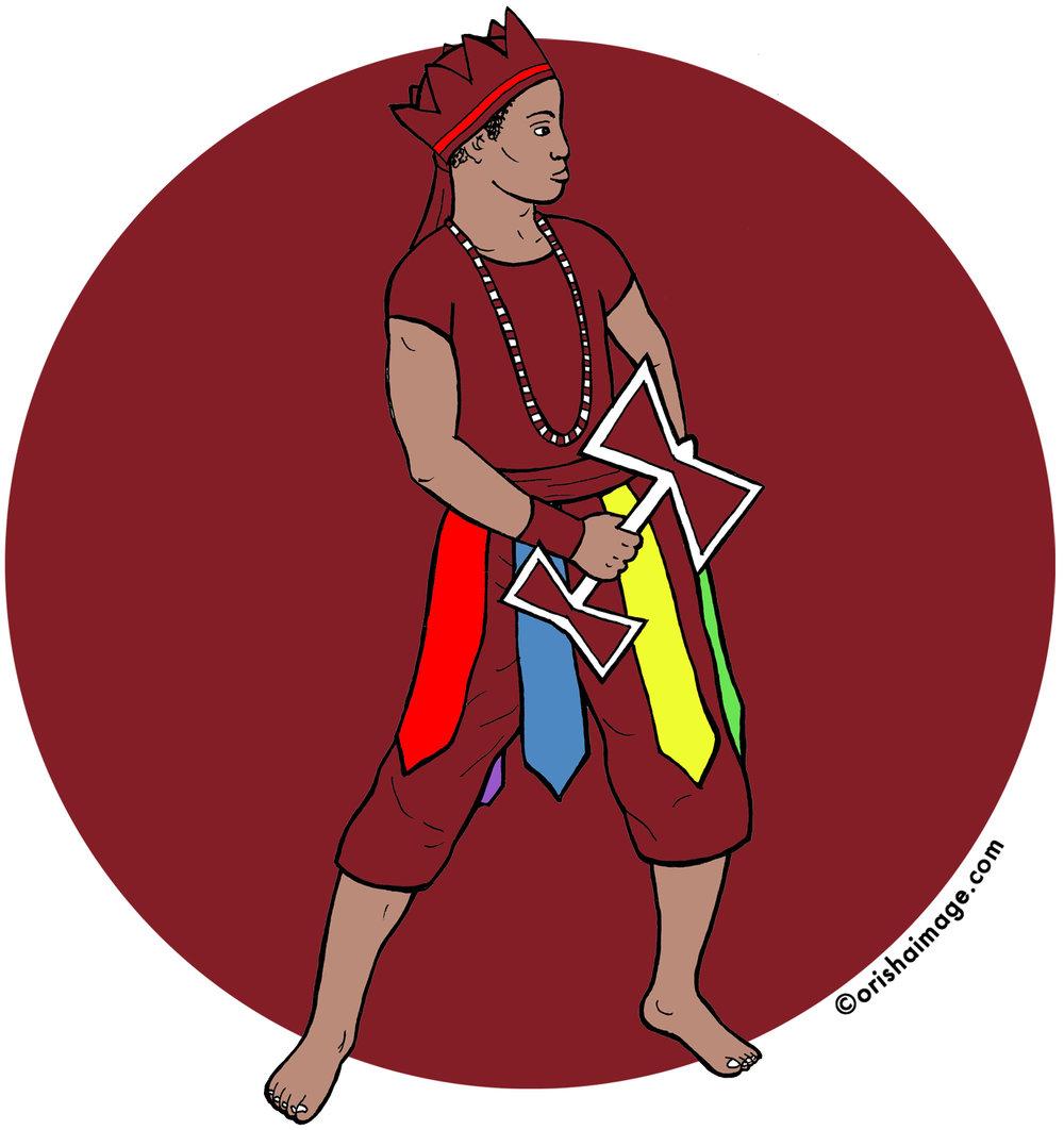 aggayu chola, aganju sola, agayu shola, orisha, yoruba, shango, xango, aganju xango, santeria, lukumi, oche chango, oshe shango, orisha image