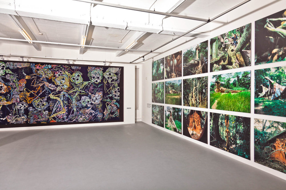 A view into the Susanne Wenger Foundation in Krems with a huge batik from Wenger and photos of the Grove, Austria. ©Wolfgang Denk