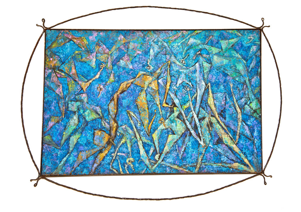 "One of the oil paintings on display at the Susanne Wenger Foundation: ""Ifá Pietà deep blue"", 1982-1984, 90 x 124 cm, oil on wood. ©Wolfgang Denk"