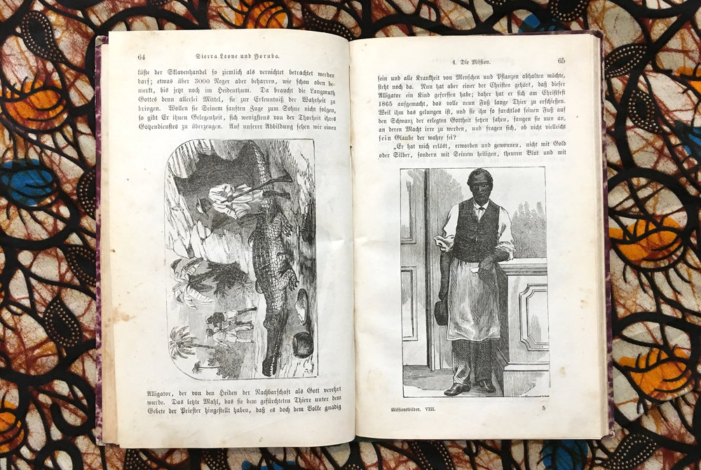 """Missions-Bilder. Achtes Heft. Sierra Leone und Yoruba"" from 1870. Left a ""worshipped crocodile"", which sometimes got ""human sacrifices"" for the river goddess, Finally the crocodile could be killed. Right a liberated African, dressed properly with an apron, his weight rests on a classical pedestal. Inside the house the environment is European."