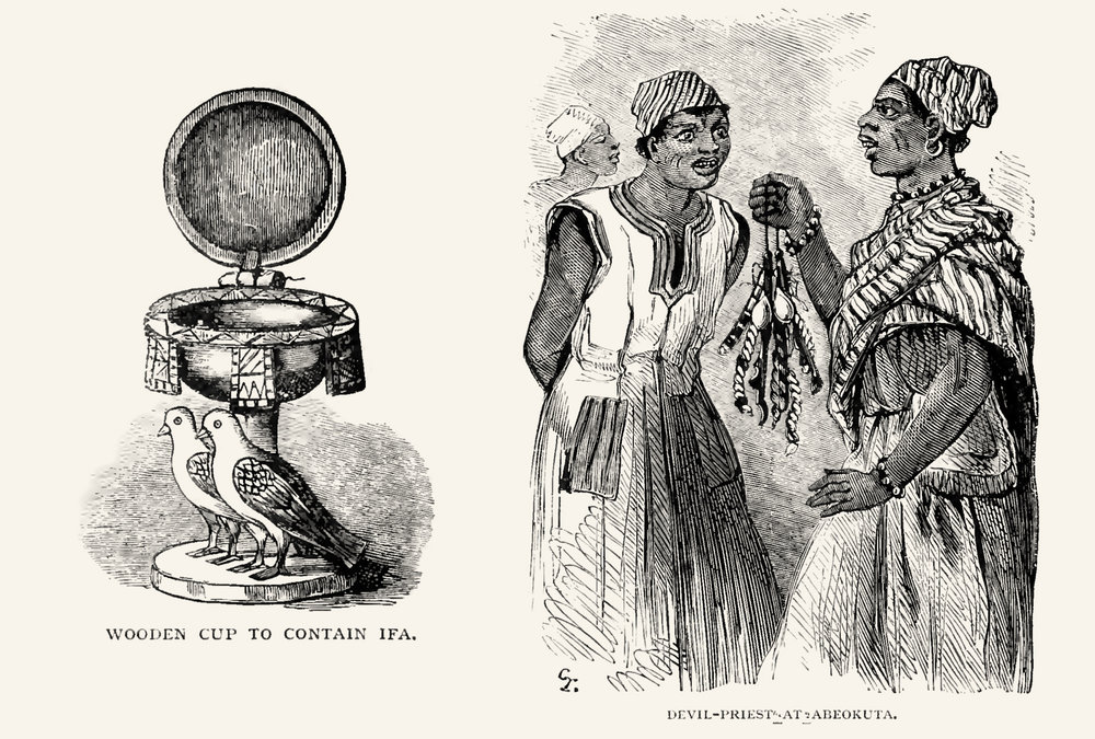"Left how the illustrator imagined a carved, hinged Ifá bowl to look like, probably from a verbal description. Right a ""fetish-priest"" of Èṣù Ẹlẹ́gbára, the so-called ""devil priest"" in Abeokuta. It was at that time that Èṣù became falsely equated to the Christian concept of the devil through the use of his name in the Yorùbá bible. No other Orisha names were used, just Èṣù's name, what makes all Olorisha to devil worshippers today in Nigeria. ."