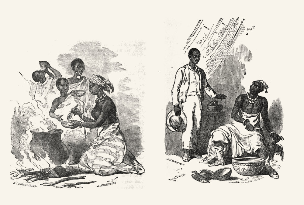"Left the ""breakfast scenery"" on Abeokuta's streets. Right King Akitoye, getting disturbed while sacrificing two pigeons to his Orisha, later being very much ""ashamed"". The simple message in all these images: Western clothes=modern educated African, half-naked=primitive Olorisha. The lady on the left looks bare-breasted."