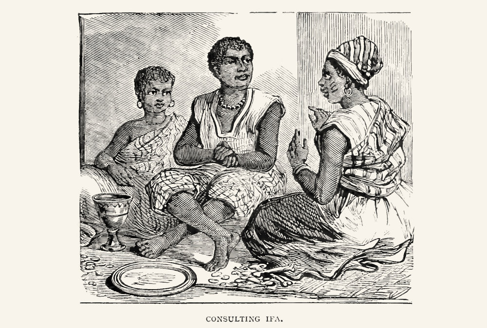 The Babaláwo consulting for his clients. Notice the Ọpọ́n Ifá with ìyẹ̀rẹ̀ osùn and some lines that could be Odù markings. The bones and small objects on the mat could be the ìbò, small tools for the detailed interpretation. The Babaláwo has also scarification marks on his cheeks.