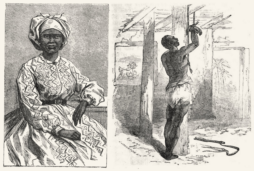 Left a liberated and educated African woman in Sierra Leone. Right a slave waiting for his deportation to the Americas.