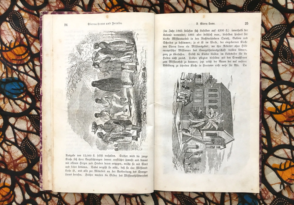 """Missions-Bilder. Achtes Heft. Sierra Leone und Yoruba"" from 1870. Many images show churches and buildings. Western modern architecture was introduced. Missionary Gollmer's name was ""Alapako"", Yorùbá for ""Owner of the wooden board"", because he built the first houses in this style in Lagos."