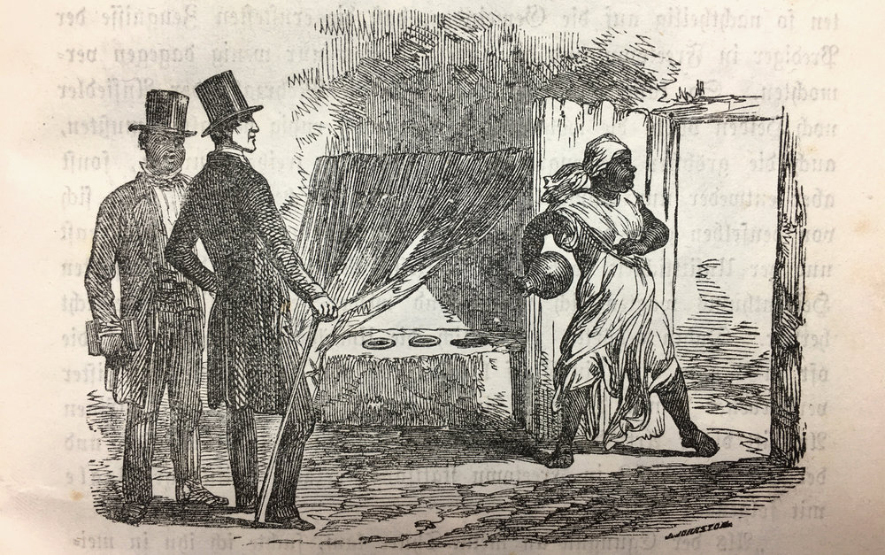 "An African Christian priest, bible in his hand, watches a European missionary, who watches an Olorisha, who throws away the ""idols"". Interesting, that the African does not watch it directly, but rather follows the European's view on the scene, as if he was learning from his reactions. The Orisha shrine behind the curtain inside the house is empty, in the hand of the Olorisha is a clay pot with sacred water from a spring, mentioned in the text below. Clothes make the difference between the ""wild"" and the educated African."