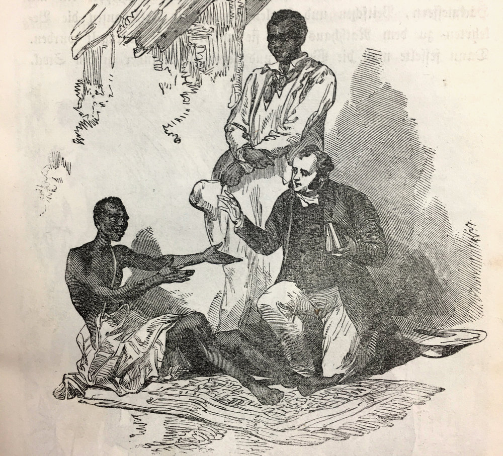 "The half-naked, sick African man, longing for the help of he pastor, was abandoned by his family, because he stopped the worship of ""the Ifa"". Kneeling down with him, the bible in his hand, the missionary, The scene is witnessed by a well-dressed Arican watching the situation."