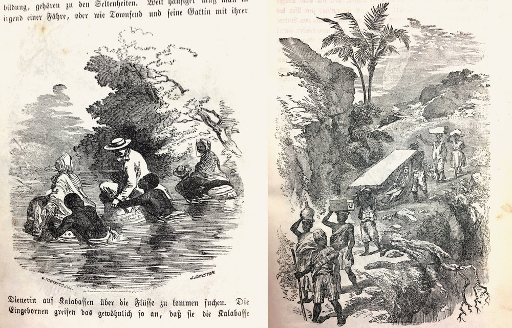 "While the text tells us about the dangers of traveling through Yorùbáland, the illustrations give us a more comfortable impression. On the left is the scene of crossing a river by the missionaries sitting in huge calabashes, on the right the typical image of a white explorer been carried by ""his freed slaves"" in a hammock under a sun shield."