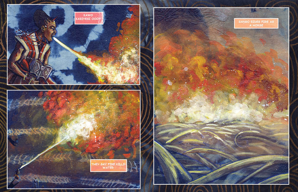 "A preview from the ""Itan: Part One"" comic book project, here the layout of two pages. © Stephen Hamilton"