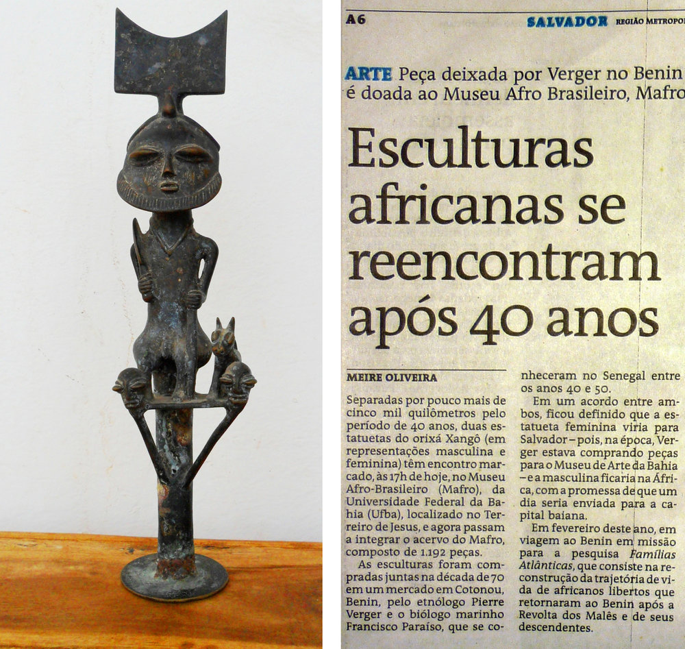 As the two friends parted, Paraíso promised his friend that one day the two images would be reunited. In 2012, when Lisa Earl Castillo and her colleague Luis Nicolau Parés visited Benin they met Francisco Paraíso. He entrusted the image to Castillo and Parés, requesting that they deliver it to the Afro-Brazilian museum, to be reunited with its pair. ©Lisa Earl Castillo