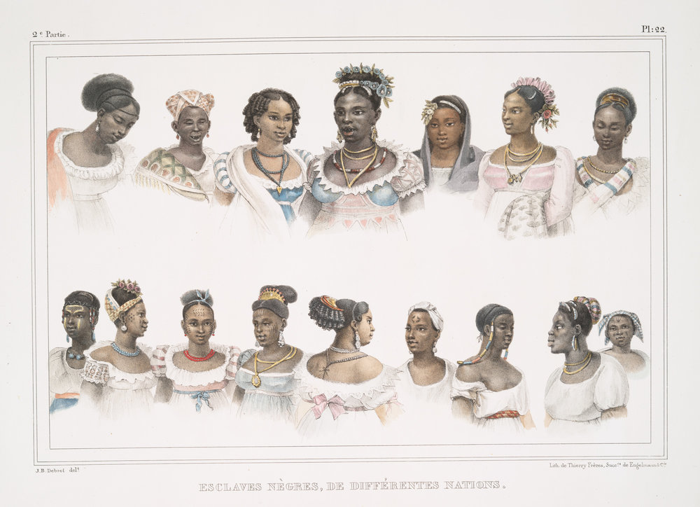 Different African nations of Brazil, published around 1834, by French artist Jean-Baptiste Debret.  New York Public Library Digital Collections , Public Domain.