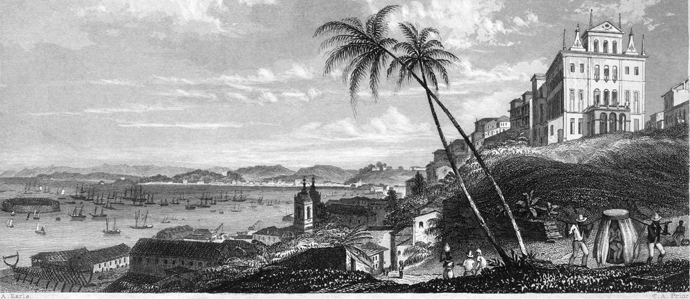An illustration of the city of Salvador da Bahia first published in 1839, drawn by one of the members of Charles Darwin's expedition on the Beagle. More old images of Salvador  here . Note the African slaves in the foreground. Chair-carrying was a sort of taxi system that was popular in Brazilian cities.
