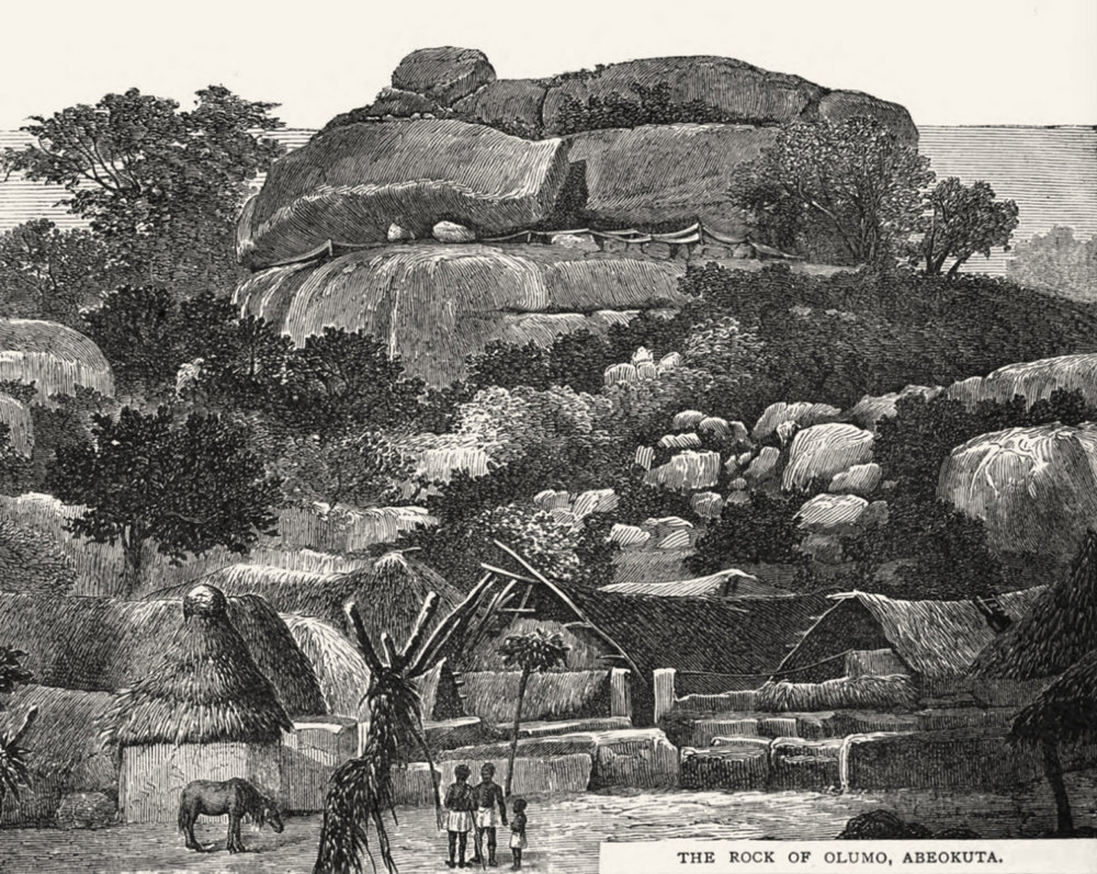 Olúmo Rock in Abẹ́òkúta, illustration from a CMS publication, around 1850. Image Public Domain.