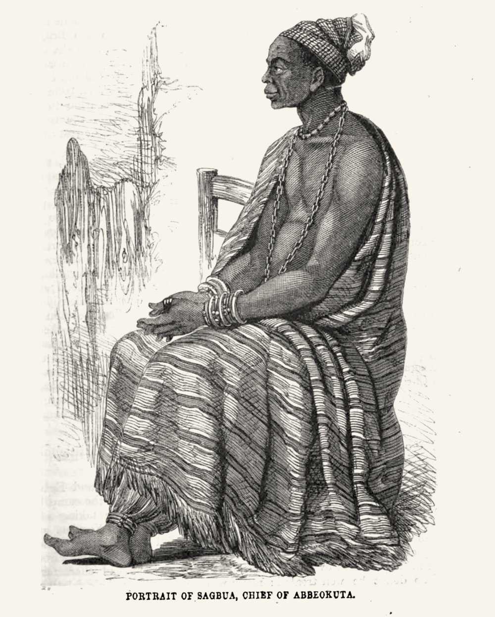 A Yorùbá chief in a typical hand-woven Yorùbá cloth, possibly as the artist imagined it to look-like. CMS Illustration, image Public Domain.