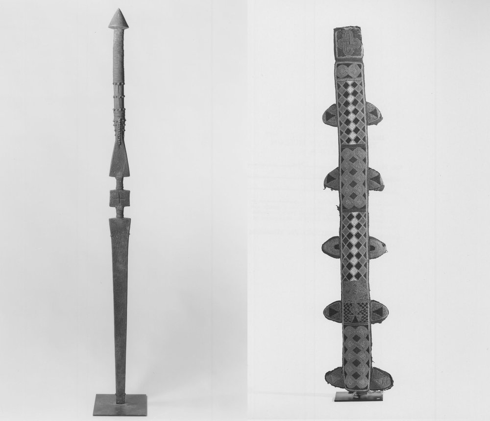 An Ọ̀pá Òrìṣà Oko sword from the 19th century on the left, usually it is not mounted on a platform like here, it has man-height, the beaded sheath is on the right image. Images by Brooklyn Museum Collection CC BY 3.0