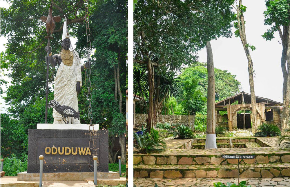 Left the Odùduwà statue in Ilé-Ifẹ̀. He carries a walking stick with a huge hen on top, you might know this bird from the myth about the creation of the world. Right another famous Yorùbá ọ̀pá, though not made of iron and too heavy for human beings: the walking stick of the entity Oranmiyan, the tourist hot-spot in Ilé-Ifẹ̀. Image by The_AyeniPaul CC BY-SA 4.0