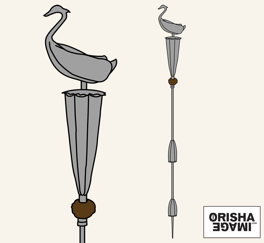 Ọ̀pá Òòsùn in a vector drawing.© Orisha Image
