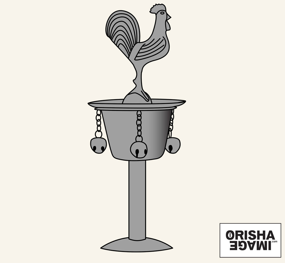 "The standard small Cuban Ósun or Ózun, around 18 cm or 7"" high, in a vector drawing. © Orisha Image"