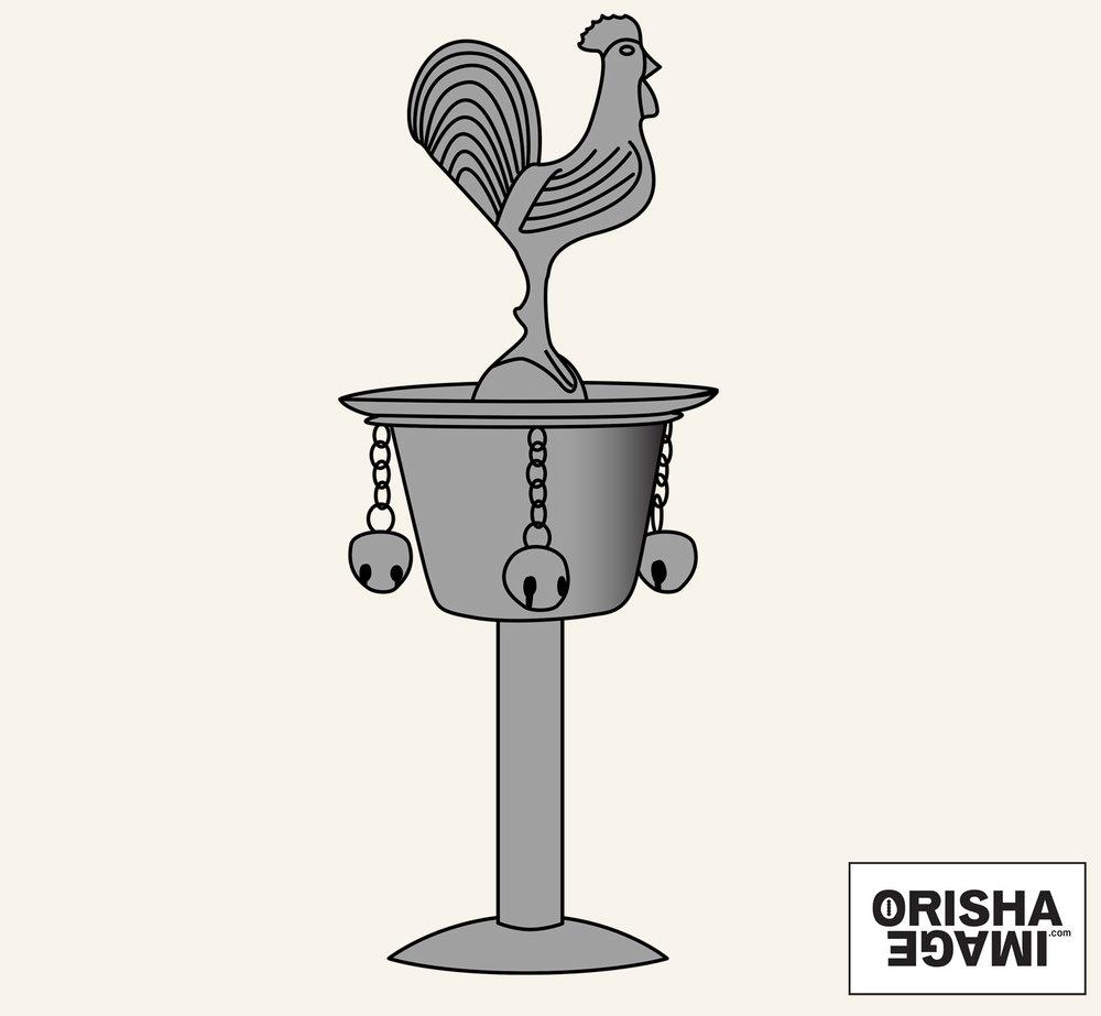 "The standard small Cuban Ósun or Ózun, around 18 cm or 7""high,in a vector drawing.© Orisha Image"