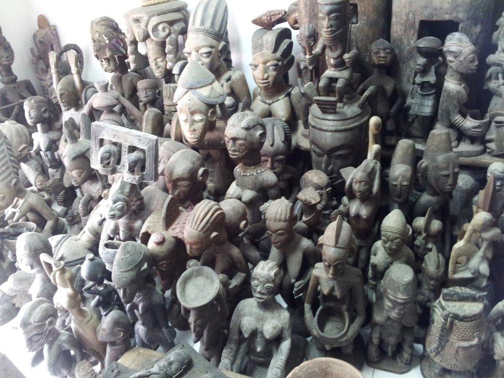 "A photo taken in a gallery in Lagos, Nigeria, selling statues that are still called ""tribal"" artwork in international auctions today. © Orisha Image"