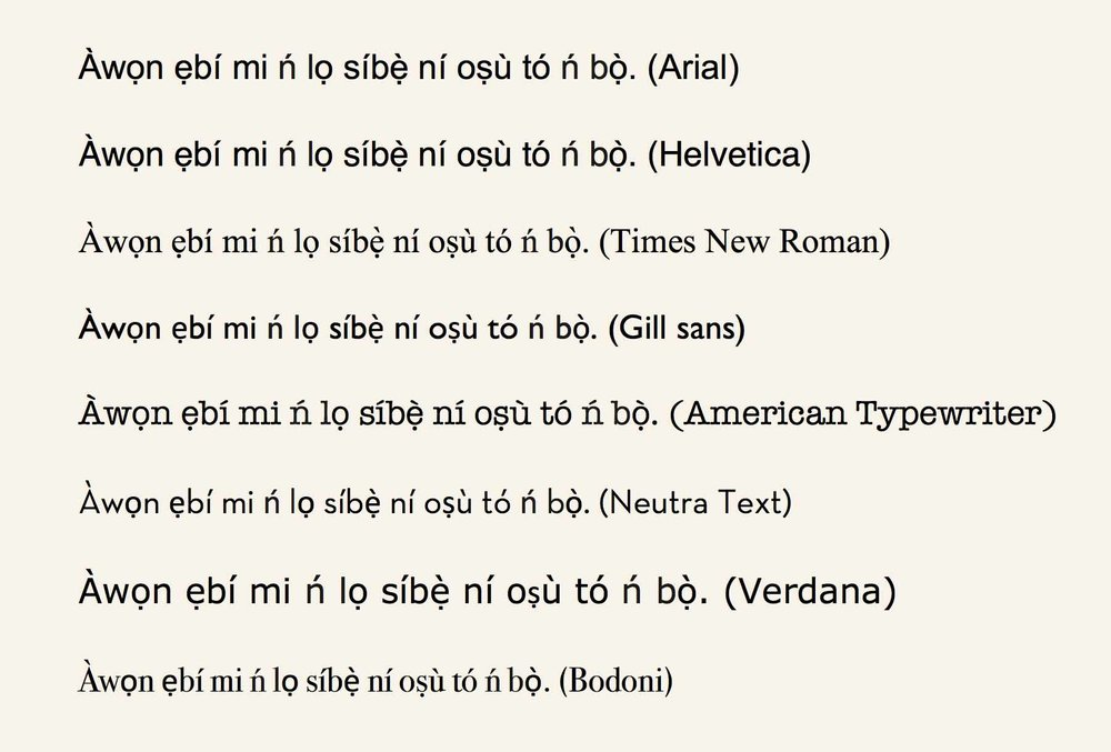 Here the fonts from above applied on a Yorùbá sentence. Do you find all typographic errors? ©Orisha Image