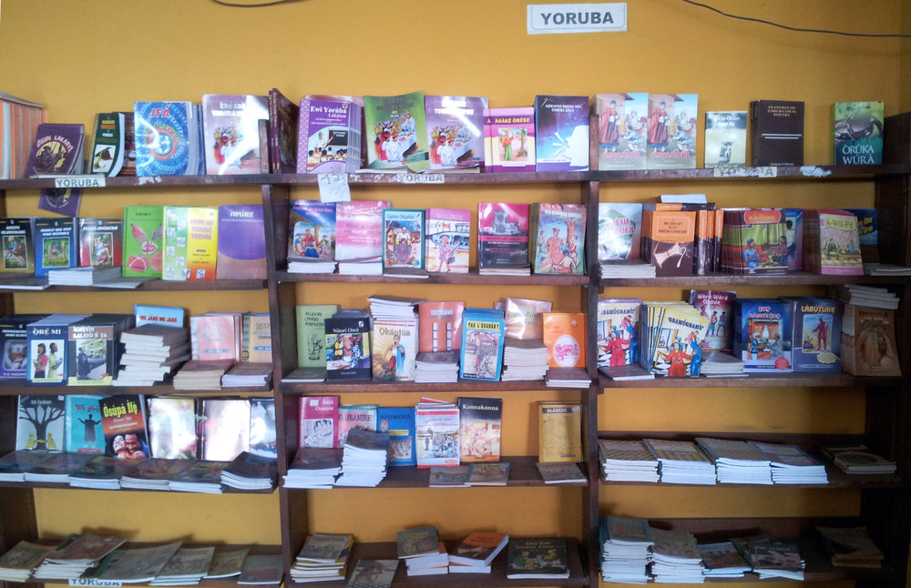 The bookshop at the university campus of Ilé-Ifẹ̀ has a huge section on Yorùbá language books. Unfortunately, outside of Nigeria they are not available, not even in digital versions! Some old books are distributed as pdf/scans by South American Orisha shops (botánicas). ©Orisha Image
