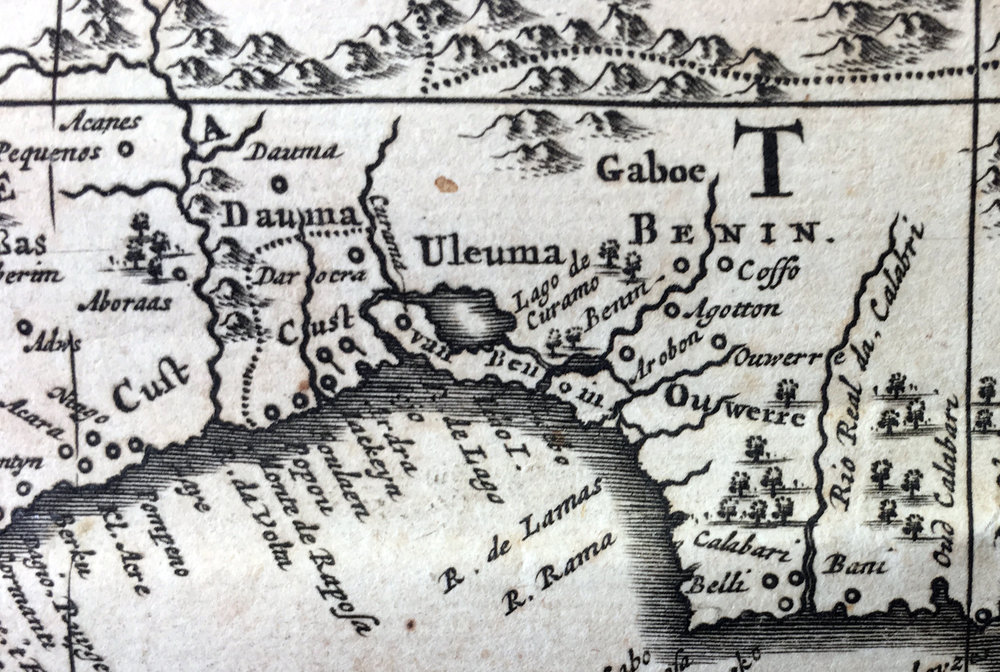 A detail from the folded map, the Bight of Benin, attached to the book published by Olfert Dapper in 1670. © Orisha Image