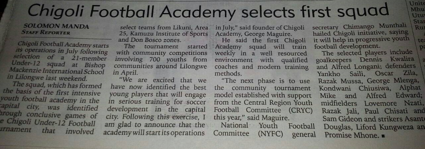 May 31st, 2015 - Nation Newspaper, Malawi.