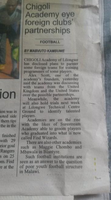 5th January, 2016. Times Newspaper, Malawi.