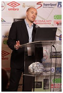 Maguire - Speaking at AFEX on 'Football in the Rural Community' in Johannesburg.