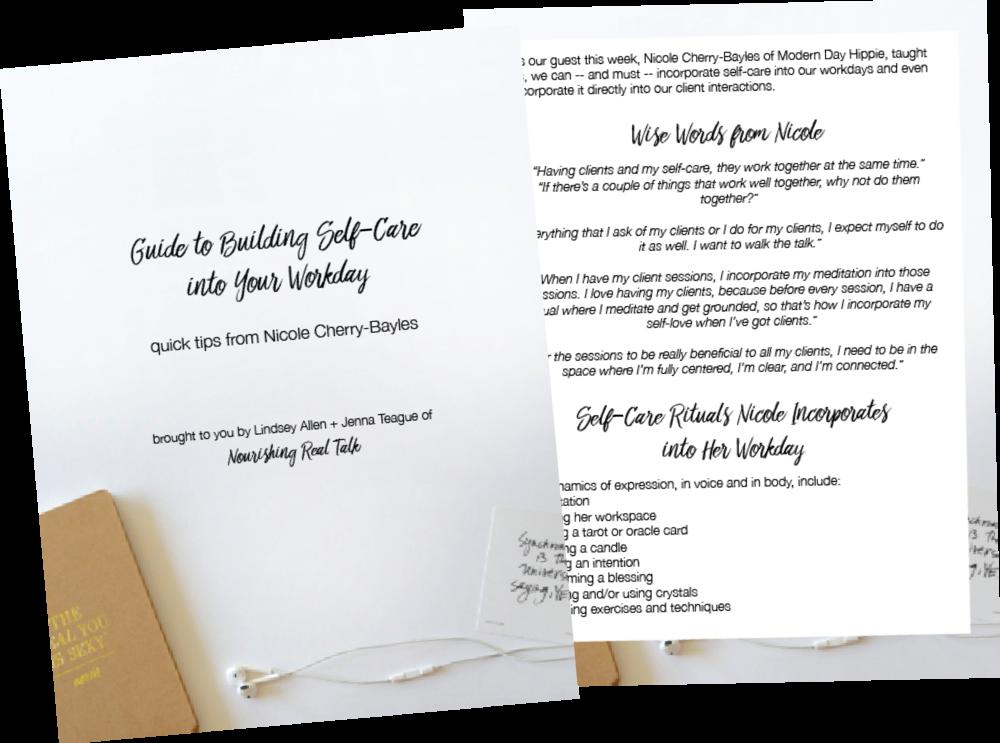 Nicole's Quick Self Care Tips | Nourishing Real Talk
