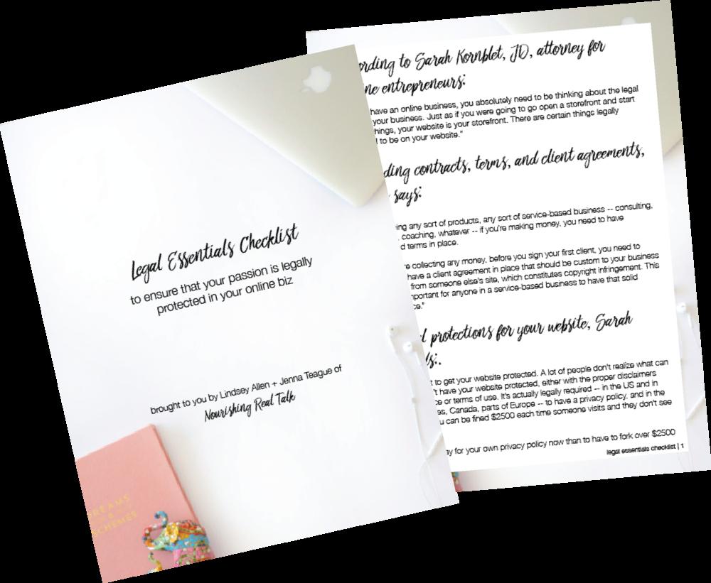 Nourishing Real Talk - Legal Essentials Checklist