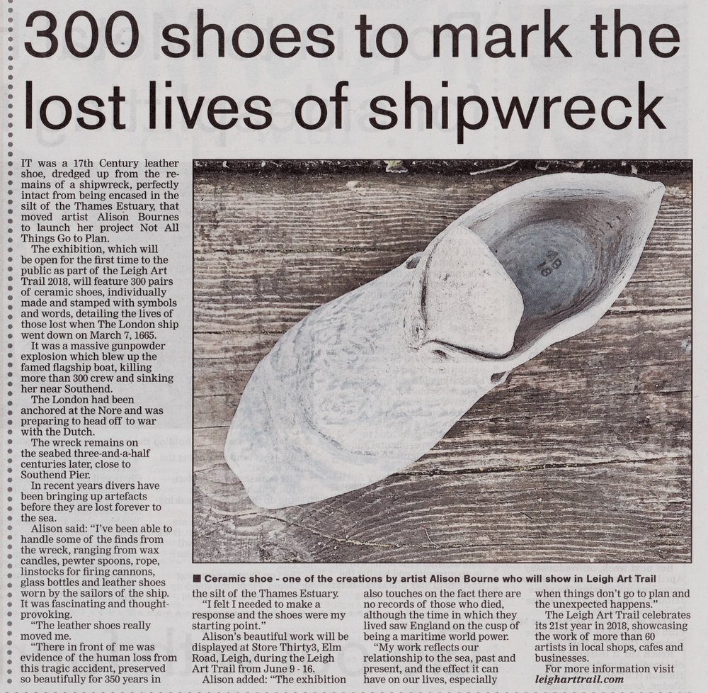 ARTICLE FROM SOUTHEND ECHO: 300 SHOES TO MARK THE LOST LIVES OF SHIPWRECK