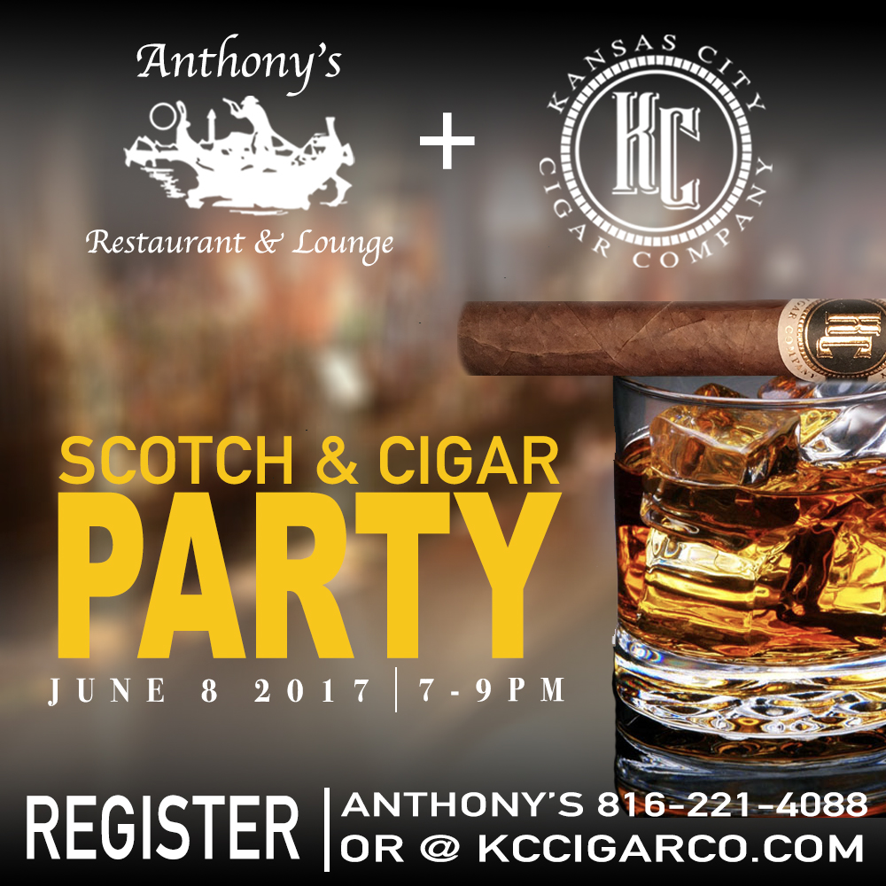 6.8.17- ANTHONY'S (7-9 pm)  Come celebrate at our Launch Party with Anthony's on Grand! - The time has come to celebrate launching Kansas City's very own Cigar! ... what better way to celebrate than downtown at Anthony's Restaurant and Lounge? There will be plenty of cigars, scotch, and delicious Italian food. Party starts at 7:00 PM.