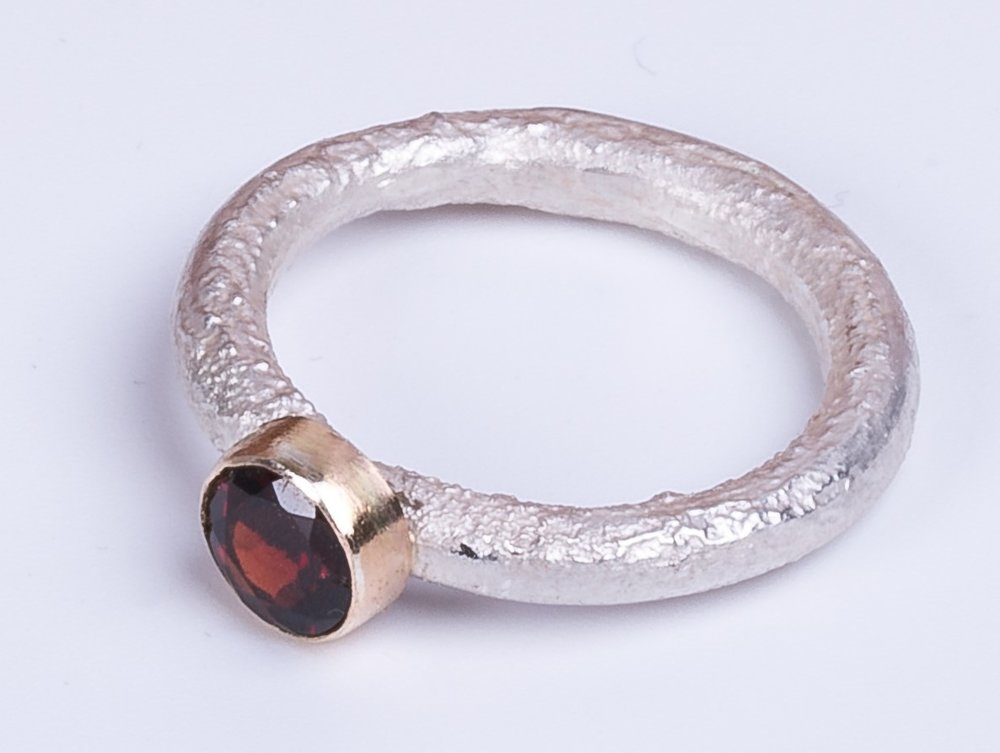lisa dakin reticulated silver, gold, and garnet ring.jpg