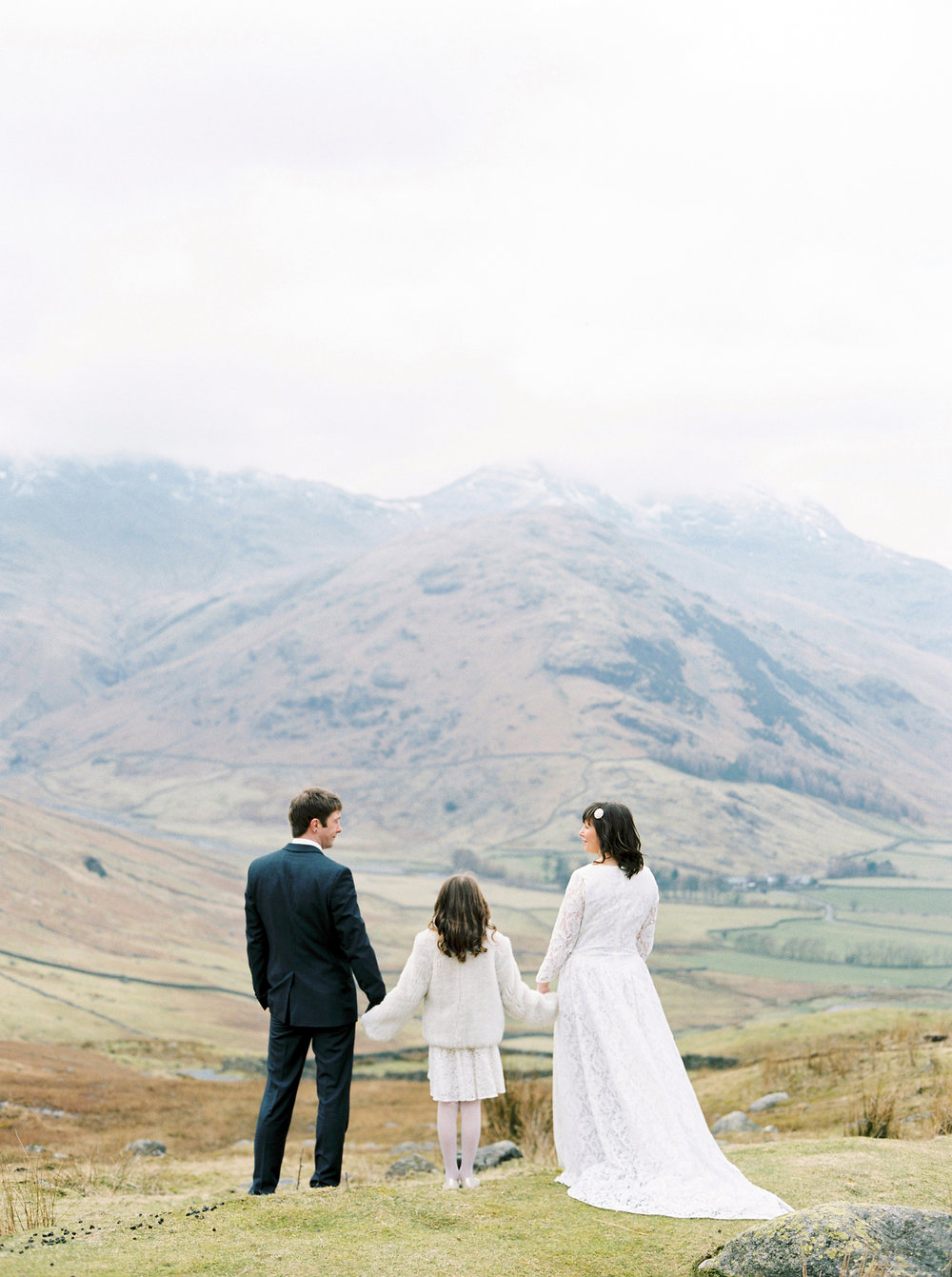 Langdale wedding shoot - Carol and Shane eloped to Iceland and decided to have some photos taken when they returned. The Langdale mountains were the perfect backdrop and matched in with the Icelandic vibe very well. It was a special shoot as their daughter Izzy- Rose was there and Carol was pregnant with their second daughter Martha-Rose, so she was there too.