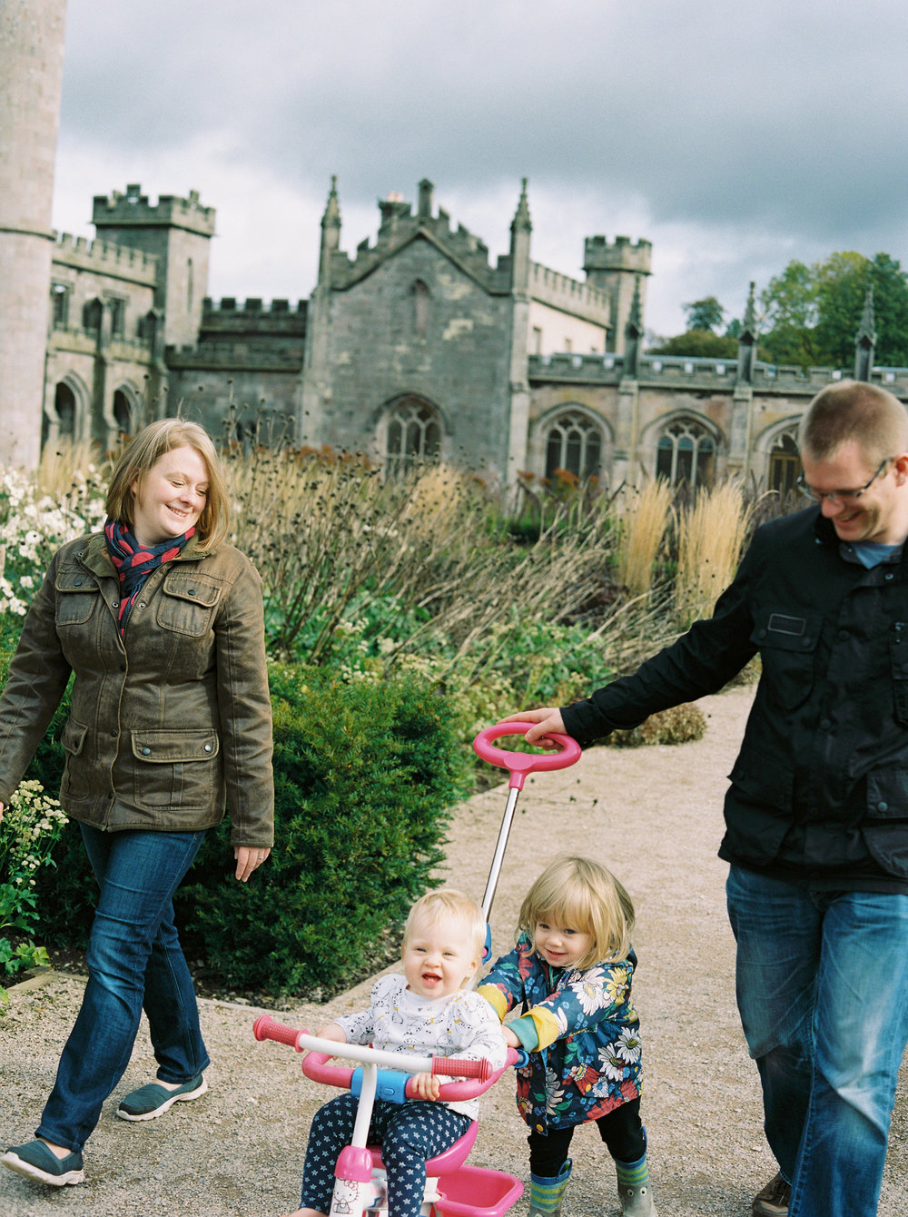Lowther Castle family photos | Cumbria - Ben and Charlotte with their two beautiful daughters amongst the background of the stunning Lowther castle in the Lake District.