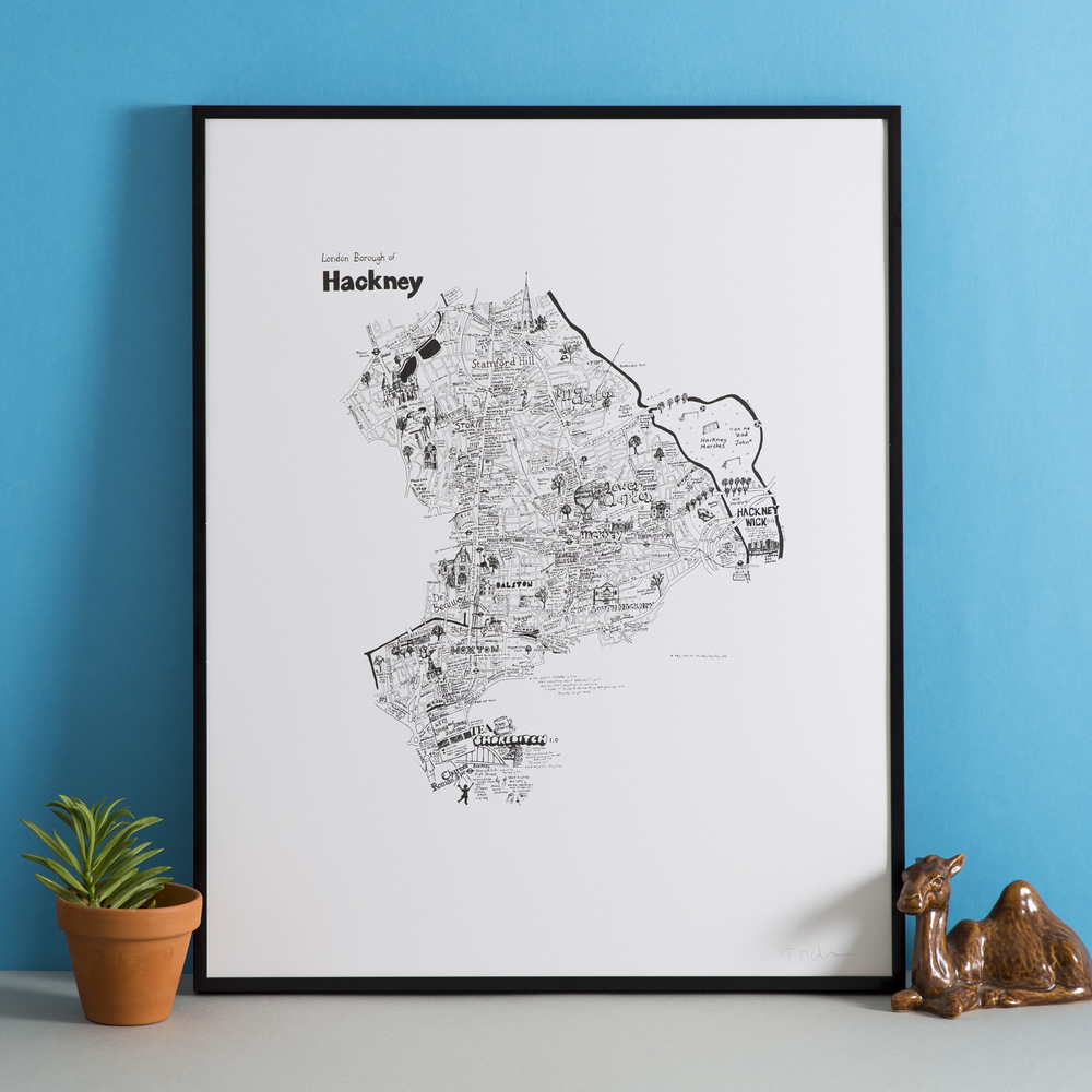 London Borough of Hackney handdrawn map print part of the London