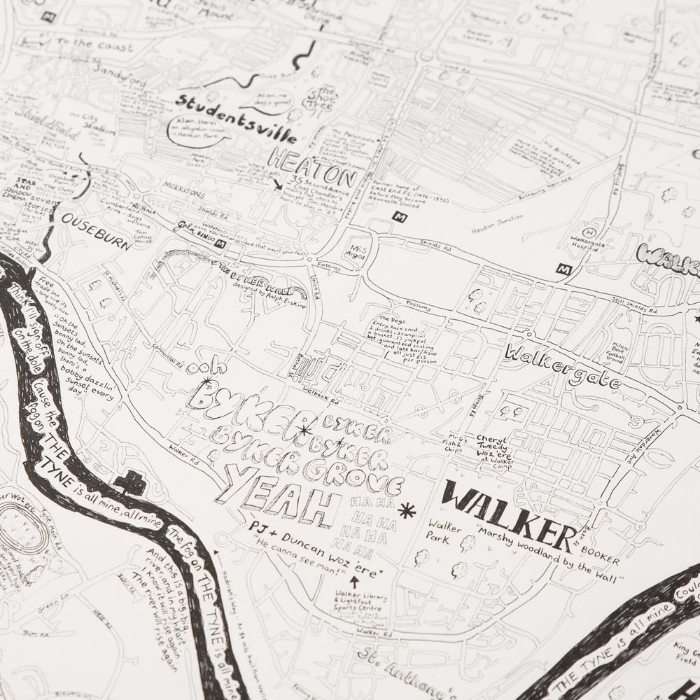 Newcastle to the coast handdrawn map print Lovely Jojos