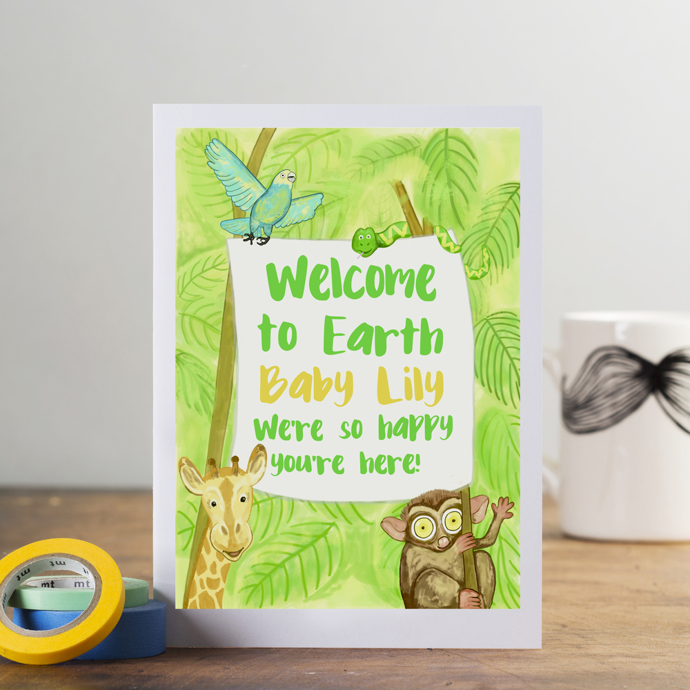 'Welcome to Earth' personalised new baby card